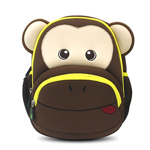 Kids Monkey Toddler Backpack 3D Cute Zoo Cartoon School Boys Girls Bags
