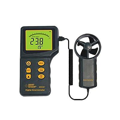 Meter Scientific Measurement AR836+ Digital Handheld Anemometer with LCD Backlight Wind Speed Meter Gauge for Measuring Wind Speed, Temperature, Air Flow Meter