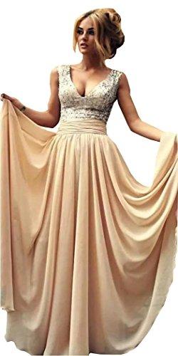 Weiterstar Women's V-Neck Sleeveless Sequins Long Chiffon A-Line Bridesmaid Dress Champagne ()