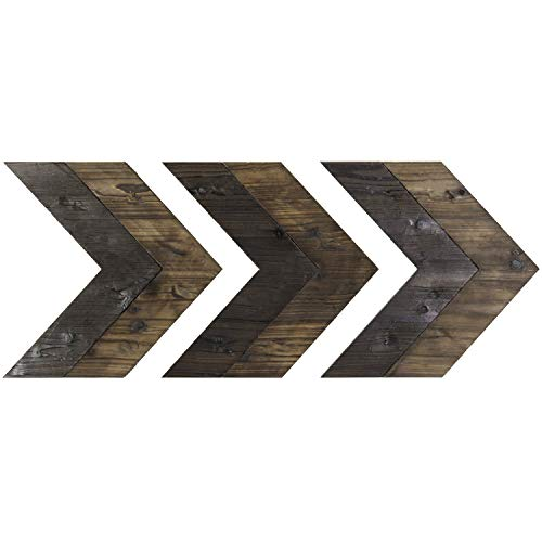 MyGift Set of 3 Wall-Mounted Decorative Rustic Black & Brown Wood Chevrons ()