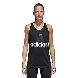 adidas Women's Essentials Linear Loose Tank Top, Black/White, Medium