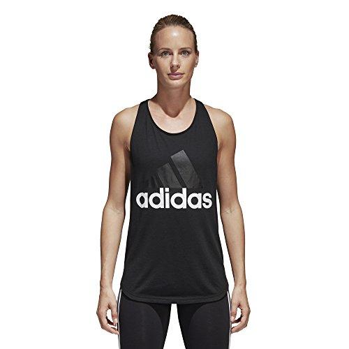 adidas Women's Essentials Linear Loose Tank Top, Black/White, - Plenty Shops Valley