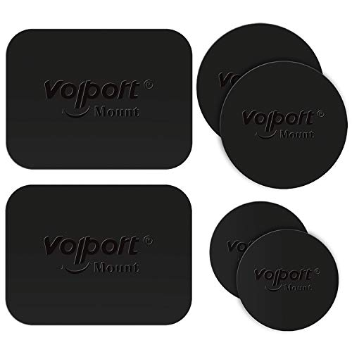 VOLPORT Mount Metal Plate, 6 Pack Metallic Plates with Adhesive Replacement for Car Magnetic Phone Mount Cradle-Less Holder 2 Rectangle and 4 Round Black