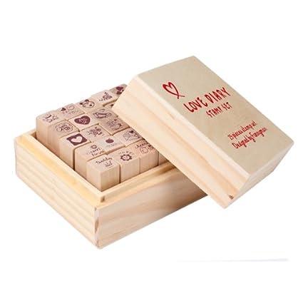 Demiawaking - Juego de 25 sellos de madera para manualidades con caja de madera, Red