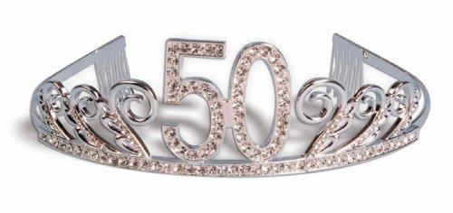 Forum Novelties Rhinestone Encrusted 50th Happy Birthday Tiara with Keepsake Box]()