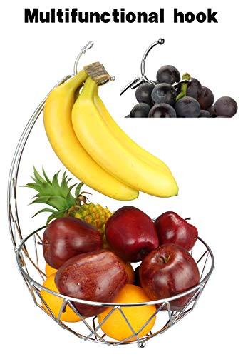 RosyLine Fruit basket, banana hanger, detachable banana hanger, special grape hook, home furniture(Chrome Finish) (Stainless Steel Fruit Bowl With Banana Hook)