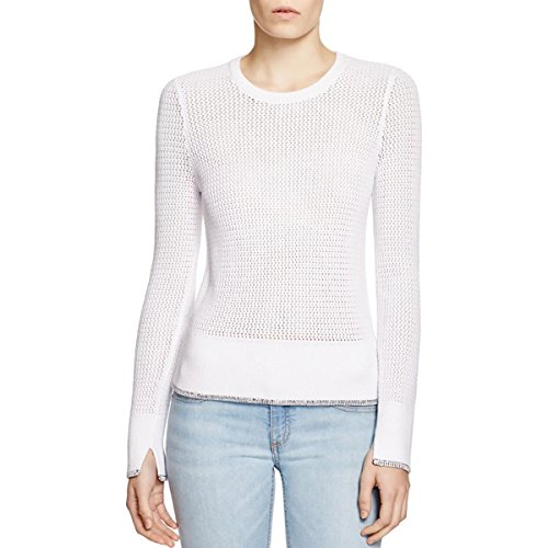 rag & bone Womens Elizabeth Knit Contrast Trim Pullover Sweater White S Cashmere Bone China