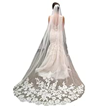 YSFS Women's Appliques Tulle Bridal Wedding Veil With Comb