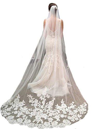 YSFS Women's Appliques Tulle Bridal Wedding Veil With Comb Ivory Long (Tulle Veil)