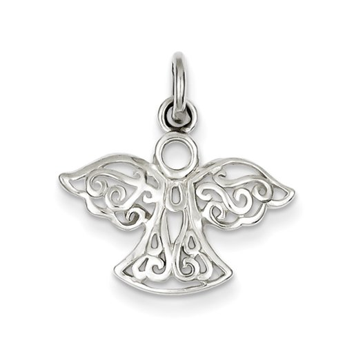JewelryWeb 925 Sterling Silver Filigree Angel Charm - 18mm by JewelryWeb