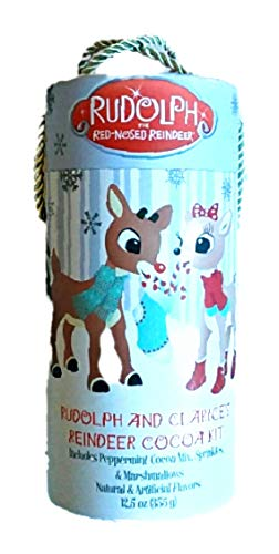 Rudolph The Red Nose Reindeer and Clarices Reindeer Peppermint Cocoa Kit with Marshmallows and Sprinkles - 12.5 oz - in Gift Box with Ribbon Handle