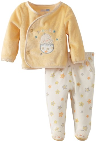 Vitamins Baby Unisex Newborn 2 Piece Footed Pant Set with A Cute Peek A Boo Applique, Yellow, 3 Months