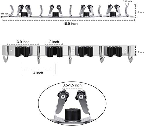 Bcamelys Mop and Broom Wall Mount Holder, Stainless Steel, 4 Racks 5 Hooks, 2 PCS, Silver