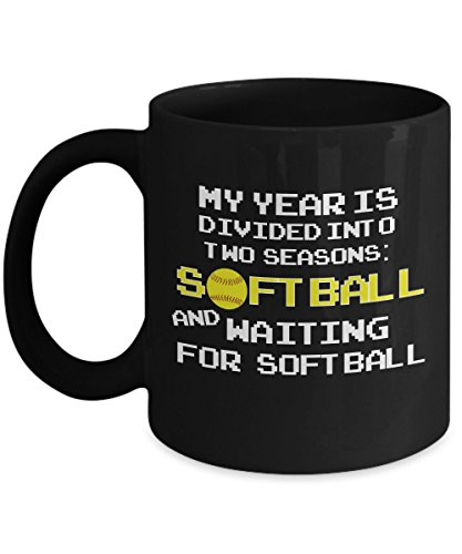 Sport Mugs, My Years Divided Into Two Seasons Softball & Waiting 11 oz - 15 oz Ceramic Coffee mugs, Tea cups - Funny Gift for son, husband, father, dad on birthday, special event