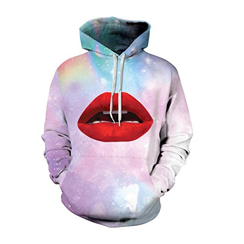 DMMSS Unisex Lovers Fashionable Hoodies 3D Sexy Red Lips Printing Lightweight Long Sleeve Sweatshirt with Hood For Girl Boy, red lips, - Bomb Front Lip