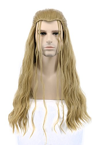 Karlery Mens Long Curly Wave Blonde Wig Halloween Cosplay Wig Anime Costume Party Wig