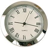 """Mini Clock Quartz Movement Insert Round 1 7/16"""" Silver Tone Roman Numerals"""