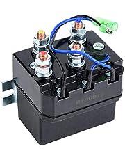 Winch Solenoid Relay, for 1500-5000lb Winches ATV UTV Winch Contactor Solenoid Relay, Black