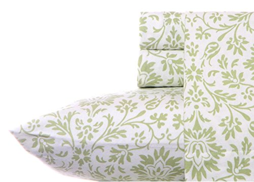(Laura Ashley Flannel Sheet Set, Jayden Sage, Queen)