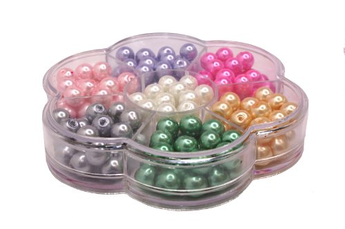 Jewelry Making Color Glass Pearl Pearlescent Beads Box Set A, 8mm Round, 168 Pcs Crystal Shamballa String Bracelet