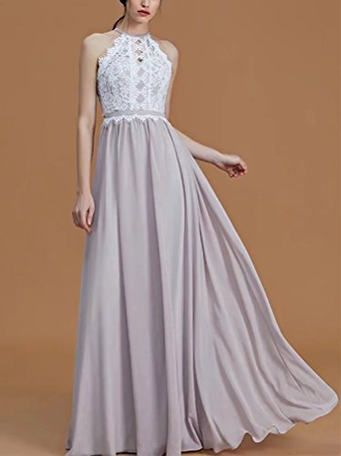 Evening Dresses AiniDress Line Lace Halter Chiffon Fuchsia A Party Floor Gowns Length For Bridesmaid Prom Princess HvSvqwI