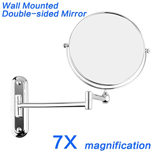 GuRun Wall Makeup Mirror with 7x Magnification Vanity Mirror,8 Inch Two Sided Swivel,Chrome Finish M1207(8in,7x) (Chrome Swivel Mirror)