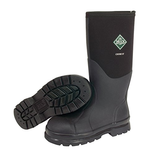 Steel Toe Rain Boots (The Original MuckBoots Adult Chore Hi Boot Steel Toe,Black,Men's 11 M/Women's 12 M)