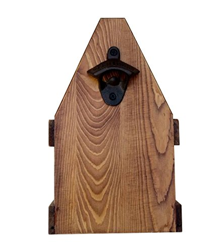 Wooden Beer Caddy Handcrafted Bottle Carrier With Opener Holds A 6 Pack Made Of Pine With A Clear Varnish