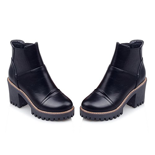 Leather Platform Elastic Chunky Boots BalaMasa Womens Heels Black Imitated Band w45a0qaE