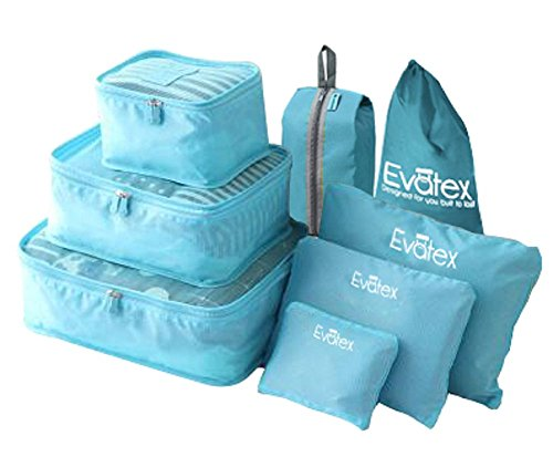 evatex travel packing cubes with waterproof shoe cosmetic diaper laundry bag