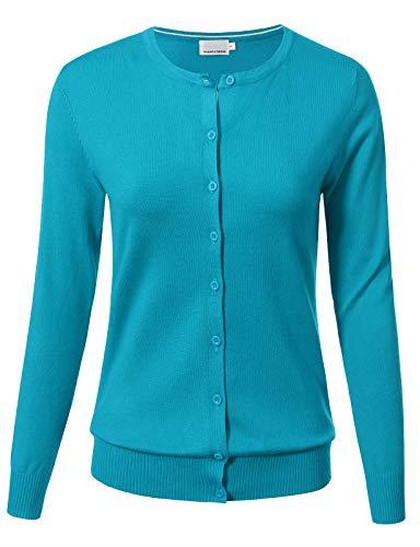 Women Button Down Long Sleeve Crewneck Soft Knit Cardigan Sweater 2XL Aqua (Aqua Cardigan)