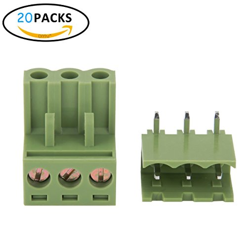 DIYhz Screw Terminal Block Kit, 20PCS 300V/320V 10A/15A 5.08mm 3 Pin Plastic Terminals Socket PCB Screw Pluggable Terminal Block Connector Kit for Electronic Products, Electronic Cables Parts, ect.