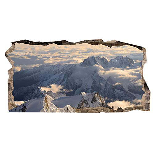 Mural Wall Art Startonight 3D Photo Snow Mountains Amazing Dual View Surprise Large 32.28 inch By 59.06 inch Wall Mural Wallpaper for Living or Bedroom Landscape Collection Wall Art