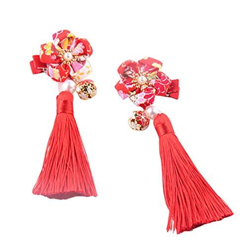 Wenasi Chinese Style Girls Flower Tassels Hair Clips Kids Cheongsam Hair Accessories