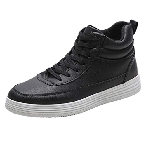(kaifongfu Sport Flat Shoes Men Round Head Lace-Up Sneakers Shoes(Black,40))