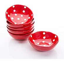 Hoomeet Porcelain Ramekins/Dipping bowls/Dessert bowls, Great for Cream Brulee, Ice Cream, Snack and Condiment, 4oz, Set of 6, Rocky Round Shape with Hand-painted Color & Dots. (Red)