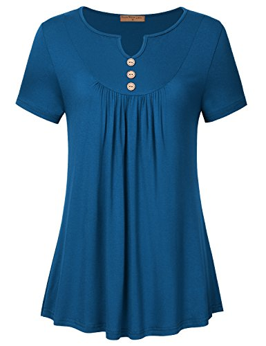 Sweetheart Tunic Top (Meow Meow Lace Women's Sweetheart V-Neck Short Sleeve Tunic Top Pleated Knit Shirts Blue 2XL)