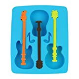 3x Novelty TPR+PP Household Party Guitar Shaped Freeze Ice Mold Tray-Blue