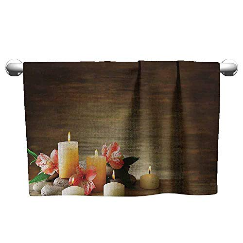 (DUCKIL Bathroom Hand Towels Set Spa Decor Spa Composition with Many Candles Wellbeing Unity and Neutrality Icons Calm Happiness Home Decor Printed Bath Towel 27 x 14 inch Multi)