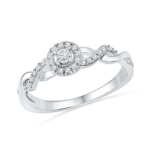 Jewels By Lux 10kt White Gold Womens Round Diamond Solitaire Twist Woven Promise Bridal Ring 1/6 Cttw = 0.16 (I2-I3 clarity; I-J color) Ring Size 8 ()