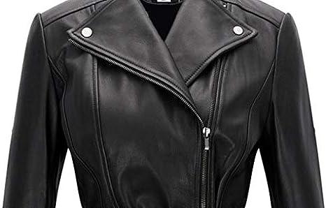 Takitop Belle Woman Black Biker Motorcycle Belted Peplum Leather Jacket