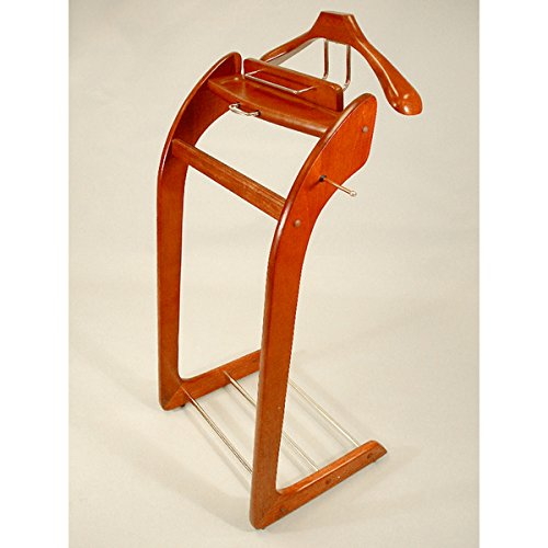 Cherry Valet Stand (Executive Style Hardware Clothing Butler Valet Suit Stand, Cherry)