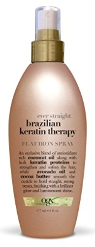 OGX Brazilian Keratin Therapy Ever Straight Flat Iron Spray 6 oz (Pack of 3) (Spray Straight Flat Iron)