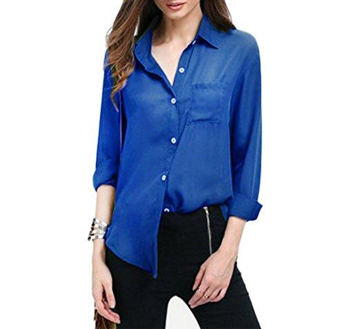 Longue Bleu Boutons Tops Mousseline Blouse Casual Manches Blouse Haut Shirts Aswinfon Cardigan Femme Chemisier de Chemise qw4tnCUp