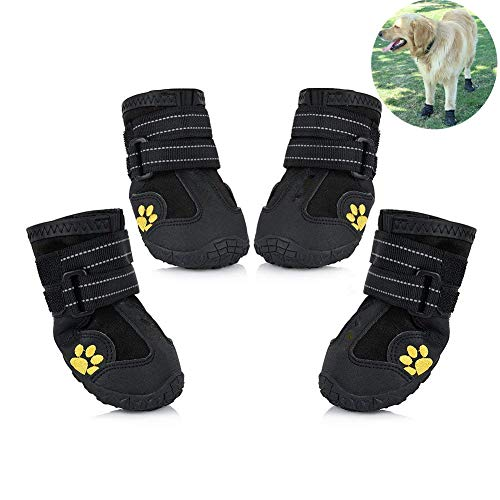 Boots Dog Skid (Petilleur Waterproof Dog Shoes Breathable Paws Protector Anti-Skid Dog Boots with Reflective Strap Pet Winter Warm Snow Boots for Small, Medium and Large Dogs (#5))
