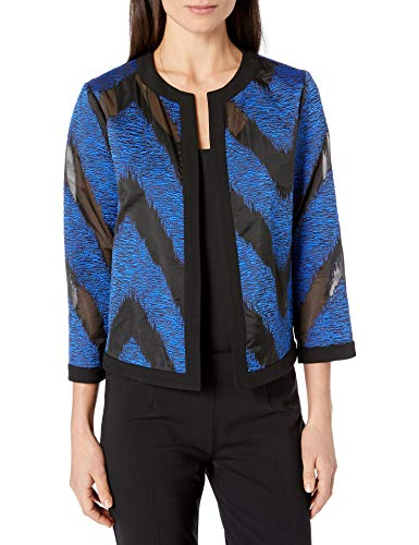 Kasper Women's Jewel Neck Textured Organza Fly Away Jacket, Sapphire/Black, 8