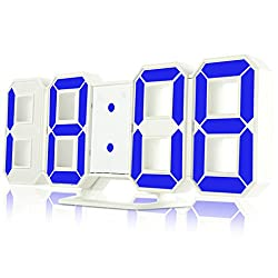 Wall Clock 3D Led Digital 24-12 Hours Display 3 Brightness Levels Dimmable white blue