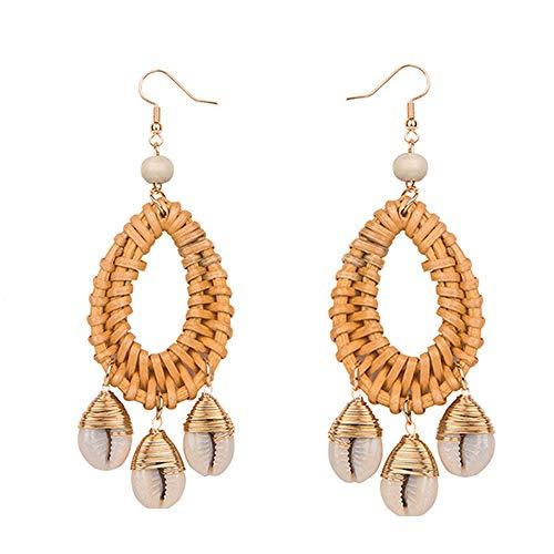 (Rattan Earrings For Women Woven Handmade Straw Oval Or Circle Shell Drop Dangle Earrings Bohemian Lightweight Earrings Geometric Statement Earrings)