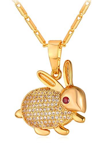 (MeniaMeow Vintage Rhinestone Inlaid Rabbit Pendant Necklace Platinum Plated Cute Bunny Charm Necklace Women Girls Fashion Link Chain Rabbit Pendant Necklace (Gold))