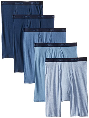 Hanes Ultimate Men's 5-Pack Assorted Long Leg Boxer with ComfortFlex Waistband Briefs, Blue, Medium